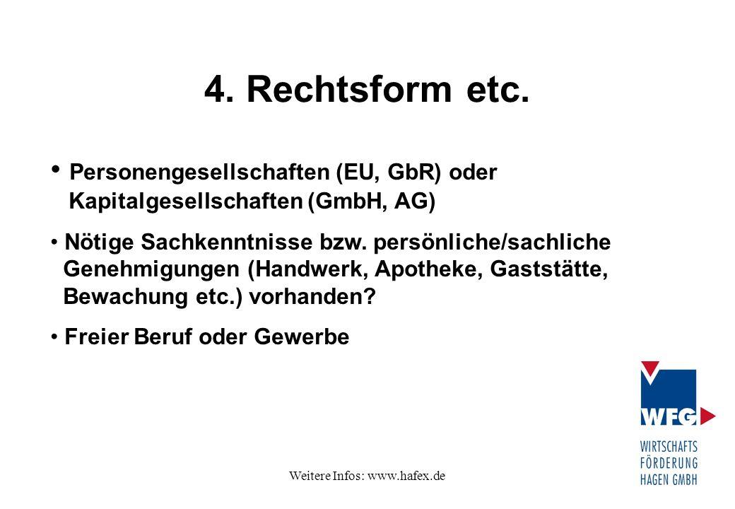 Weitere Infos: www.hafex.de 4. Rechtsform etc. Personengesellschaften (EU, GbR) oder Kapitalgesellschaften (GmbH, AG) Nötige Sachkenntnisse bzw. persö