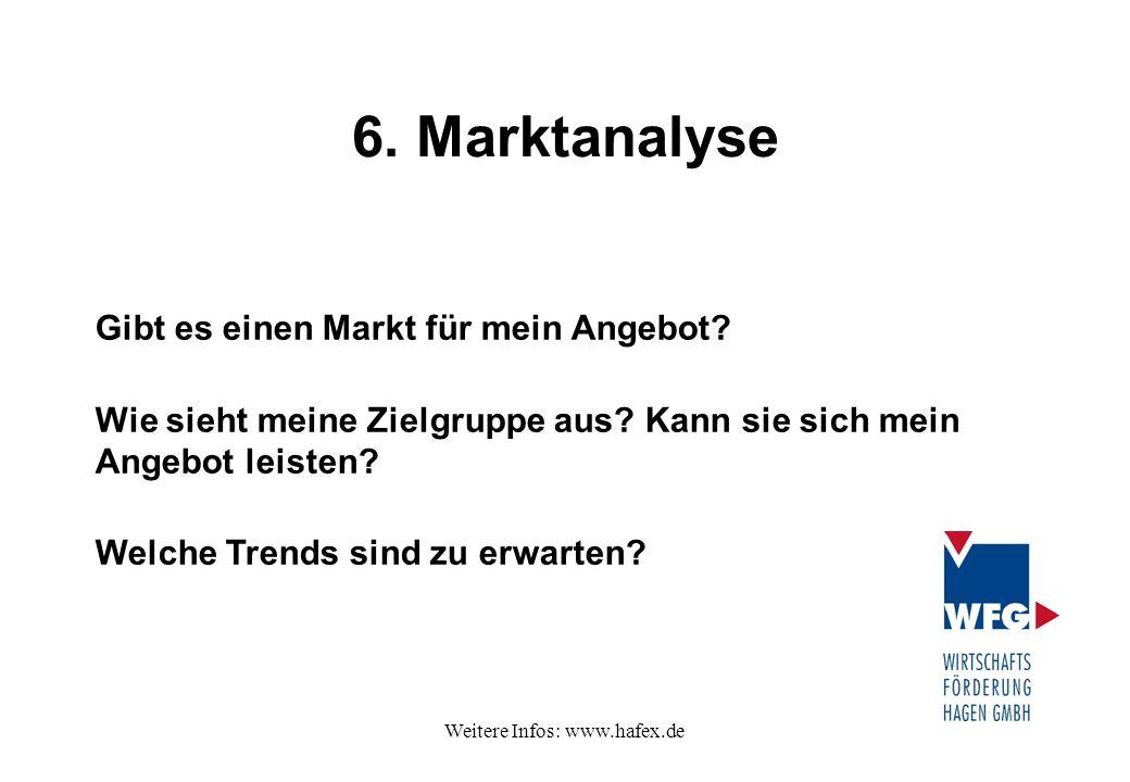 Weitere Infos: www.hafex.de 6. Marktanalyse Gibt es einen Markt für mein Angebot? Wie sieht meine Zielgruppe aus? Kann sie sich mein Angebot leisten?
