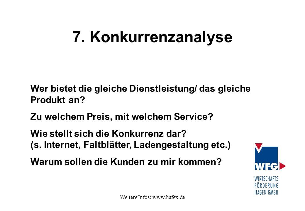 Weitere Infos: www.hafex.de 7. Konkurrenzanalyse Wer bietet die gleiche Dienstleistung/ das gleiche Produkt an? Zu welchem Preis, mit welchem Service?