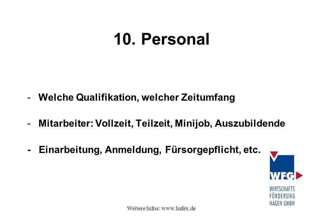 Weitere Infos: www.hafex.de 10. Personal -Welche Qualifikation, welcher Zeitumfang -Mitarbeiter: Vollzeit, Teilzeit, Minijob, Auszubildende - Einarbei