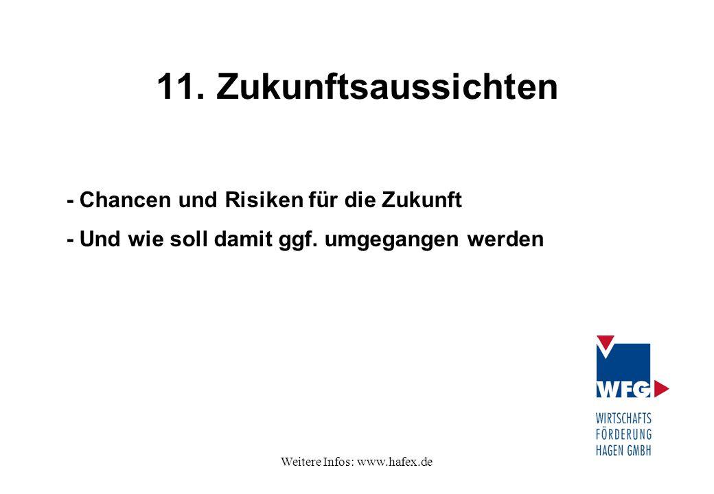 Weitere Infos: www.hafex.de 11. Zukunftsaussichten - Chancen und Risiken für die Zukunft - Und wie soll damit ggf. umgegangen werden