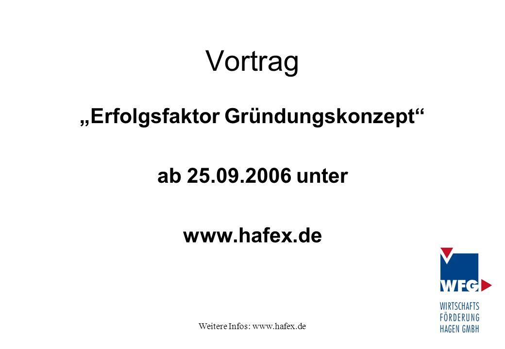 """Weitere Infos: www.hafex.de Vortrag """"Erfolgsfaktor Gründungskonzept"""" ab 25.09.2006 unter www.hafex.de"""