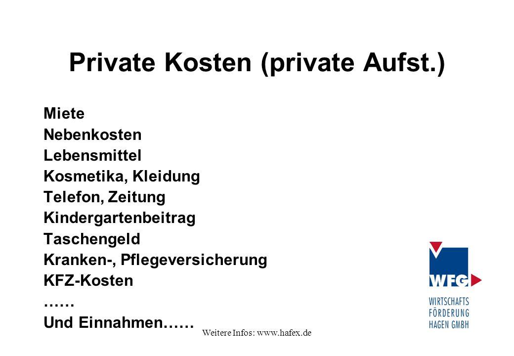 Weitere Infos: www.hafex.de Private Kosten (private Aufst.) Miete Nebenkosten Lebensmittel Kosmetika, Kleidung Telefon, Zeitung Kindergartenbeitrag Ta