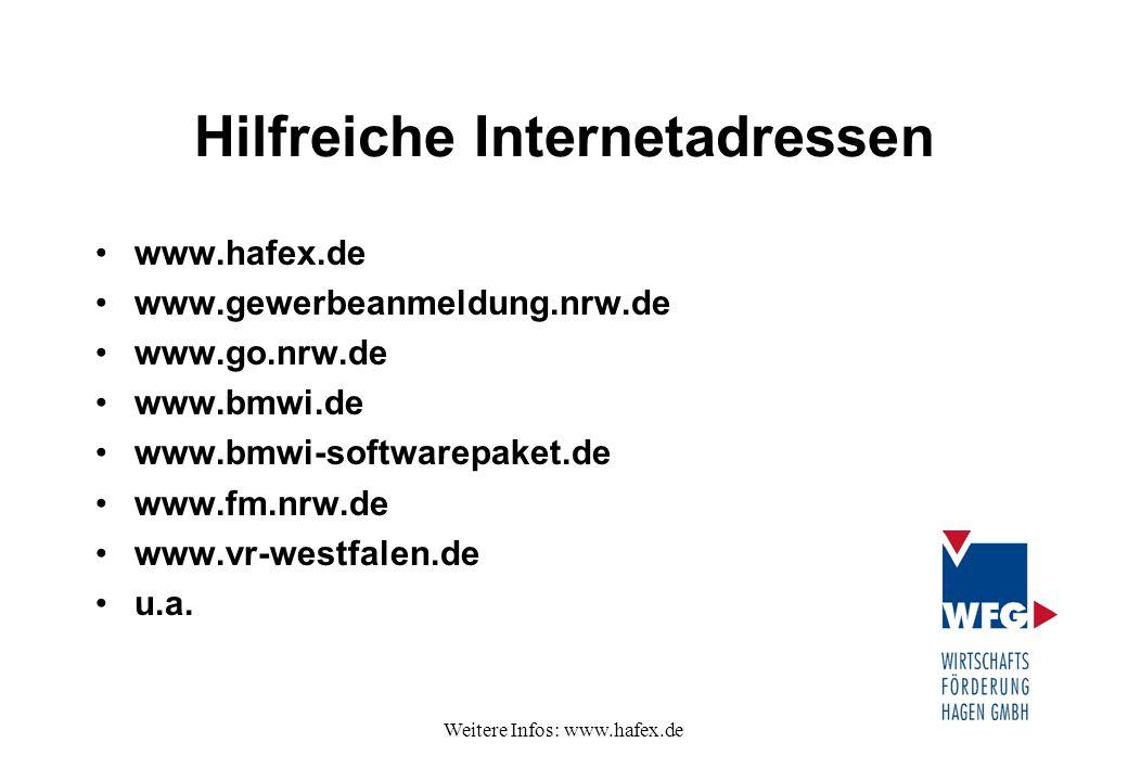 Weitere Infos: www.hafex.de Hilfreiche Internetadressen www.hafex.de www.gewerbeanmeldung.nrw.de www.go.nrw.de www.bmwi.de www.bmwi-softwarepaket.de w