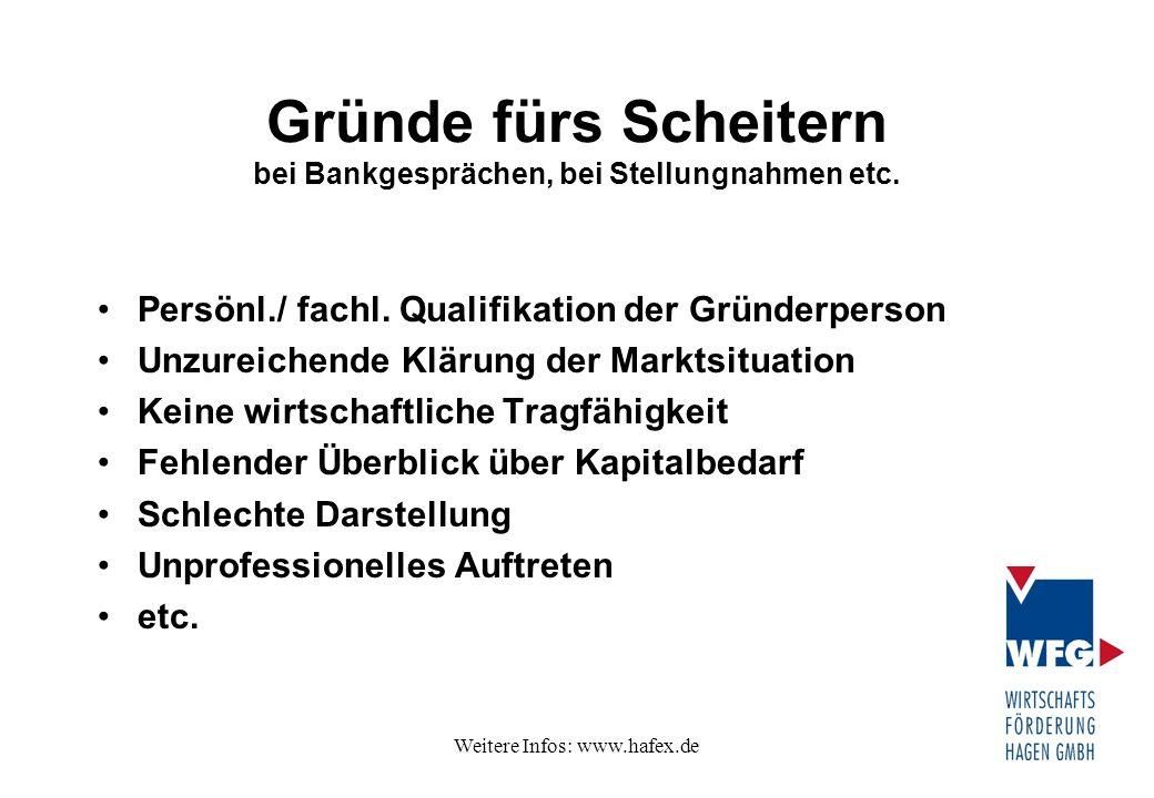 Weitere Infos: www.hafex.de Gründe fürs Scheitern bei Bankgesprächen, bei Stellungnahmen etc. Persönl./ fachl. Qualifikation der Gründerperson Unzurei