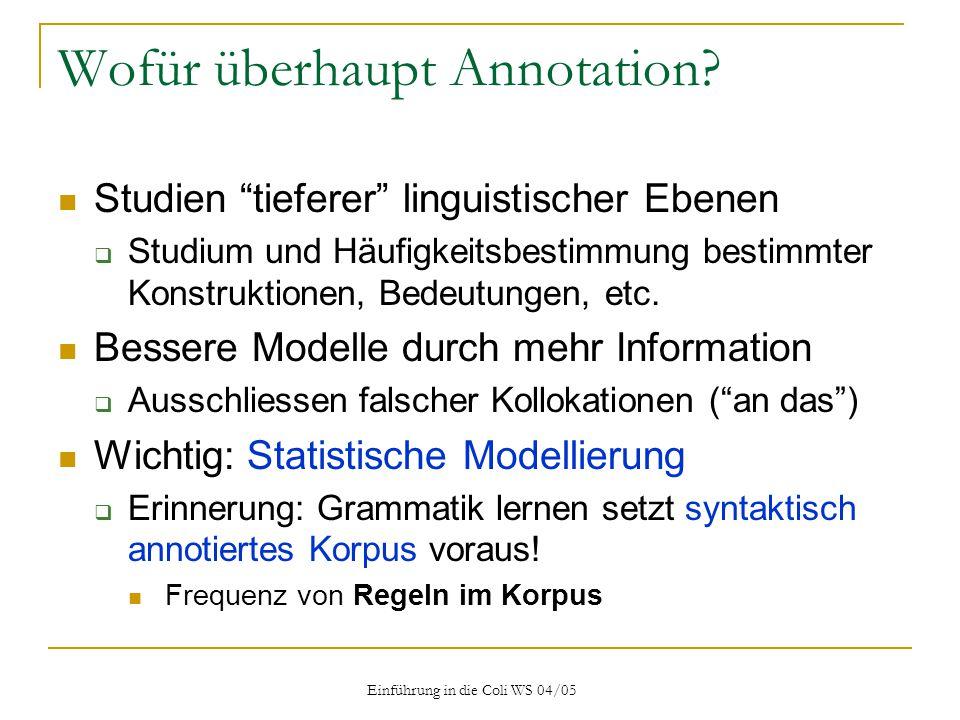 Einführung in die Coli WS 04/05 Wofür überhaupt Annotation.