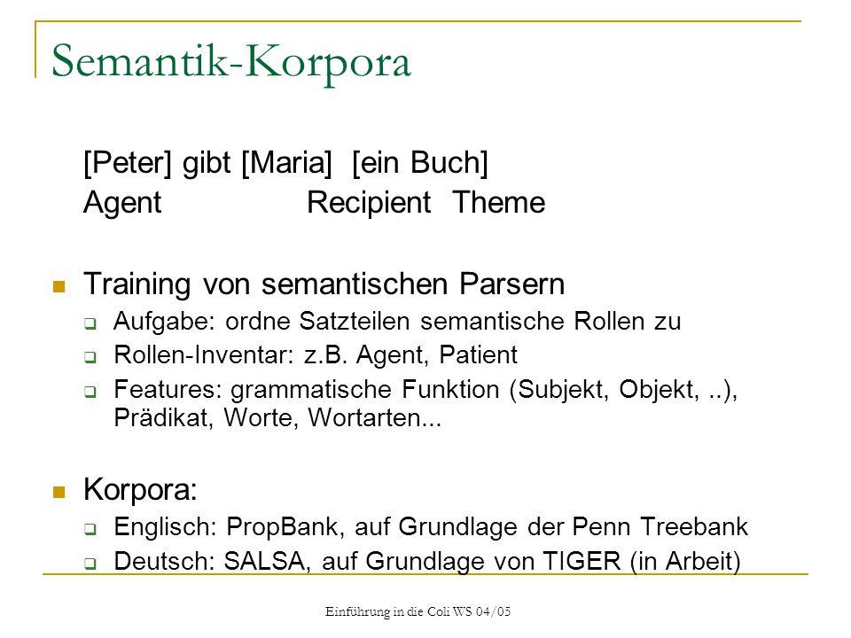 Einführung in die Coli WS 04/05 Semantik-Korpora [Peter] gibt [Maria] [ein Buch] AgentRecipient Theme Training von semantischen Parsern  Aufgabe: ordne Satzteilen semantische Rollen zu  Rollen-Inventar: z.B.