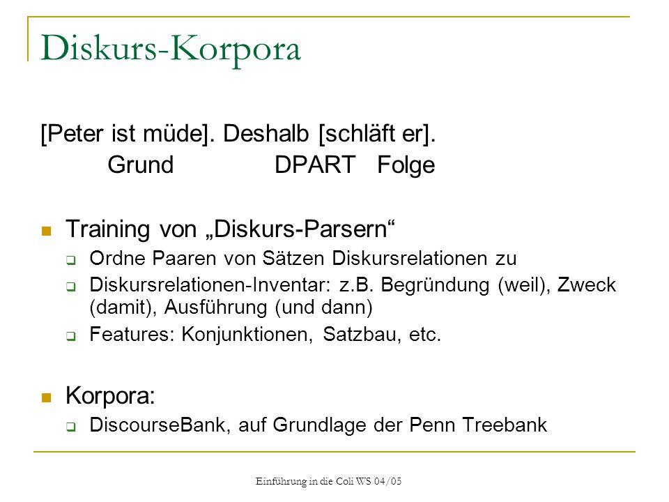 Einführung in die Coli WS 04/05 Diskurs-Korpora [Peter ist müde].