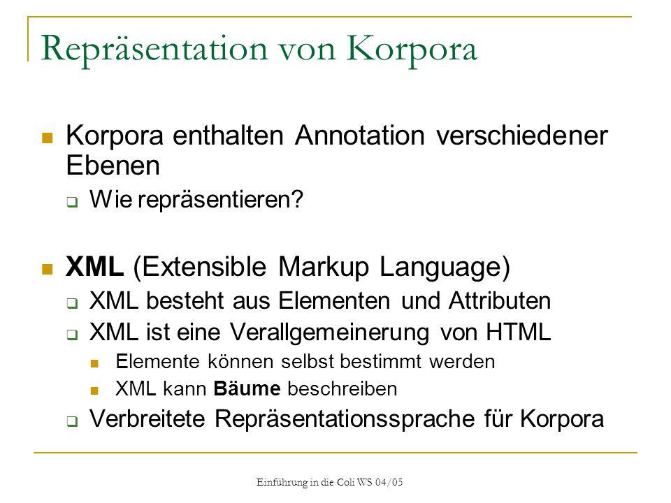 Einführung in die Coli WS 04/05 Repräsentation von Korpora Korpora enthalten Annotation verschiedener Ebenen  Wie repräsentieren.