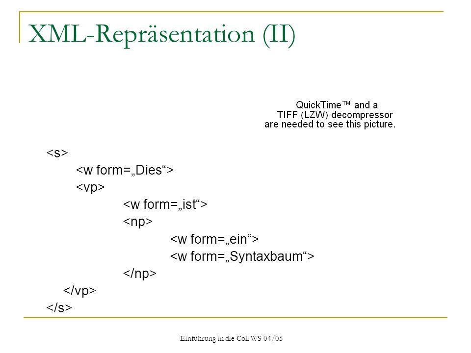 Einführung in die Coli WS 04/05 XML-Repräsentation (II)