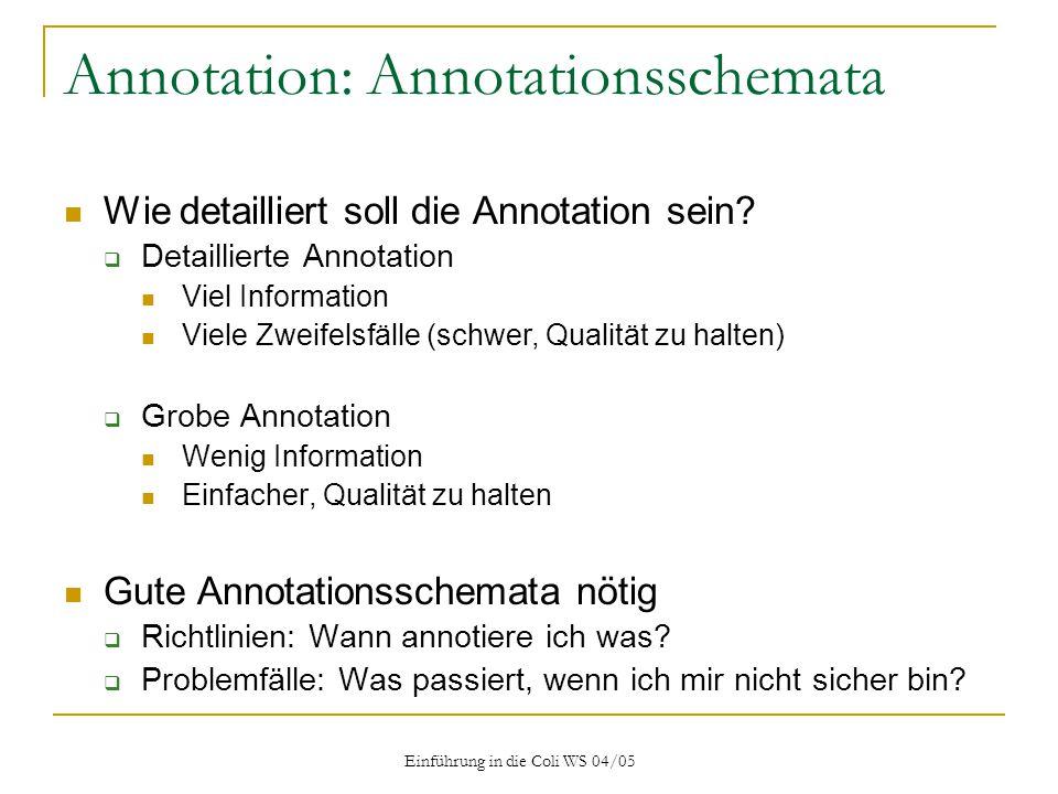 Einführung in die Coli WS 04/05 Annotation: Annotationsschemata Wie detailliert soll die Annotation sein.