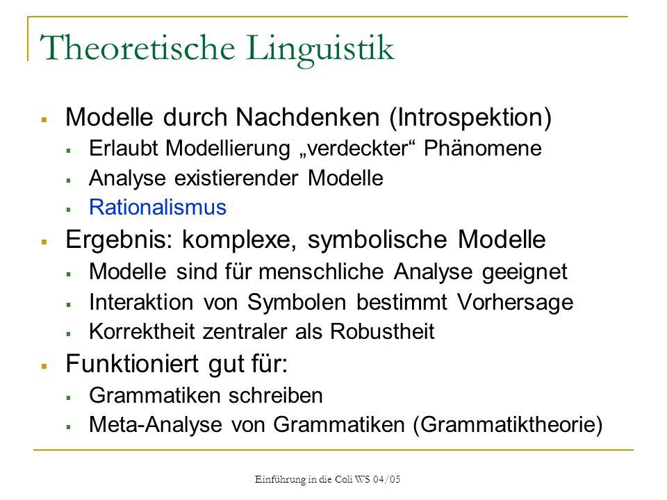 Einführung in die Coli WS 04/05 Annotationsschemata: Nominal-Wortarten CLAWS2-Tagset (132 Tags)  ND1 – singular noun of direction (north, southeast)  NN / NN1 / NN2 – common noun, neutral / sg / pl (cod / book / books)  NN1$ -- genitive singular common noun (domini)  NNJ / NNJ1 / NNJ2 – organization noun (department / assembly / governments)  NNL / NNL1 / NNL2 – locative noun (Is.