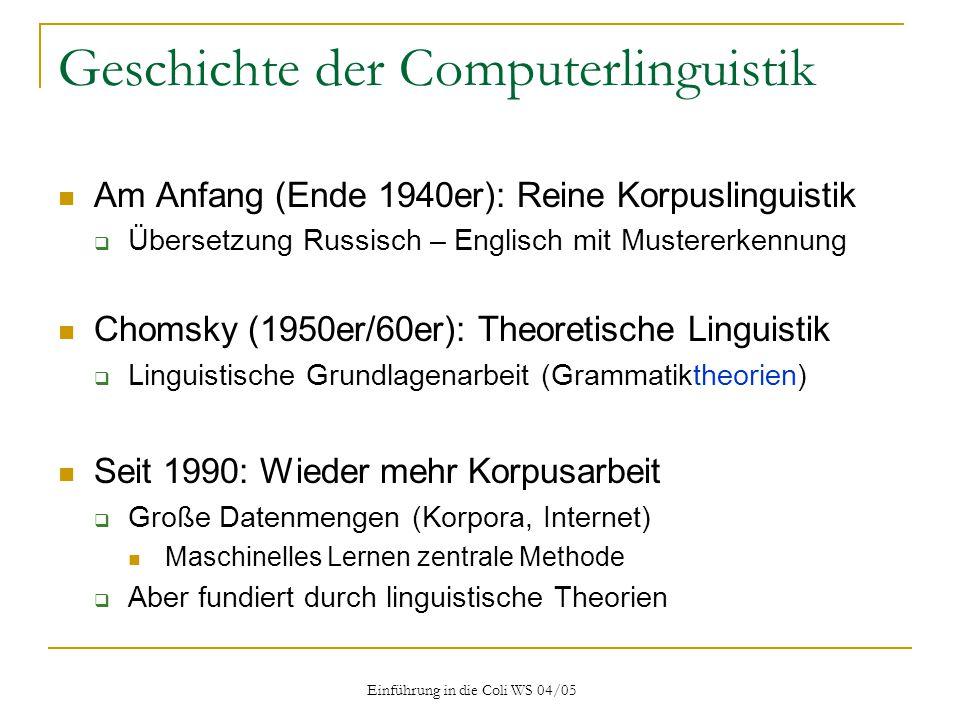 Einführung in die Coli WS 04/05 Heutiger Methodologie: Kombination Daten Modell Vorhersagen Meta-Modell (Sprach- verständnis) Empirie Theorie
