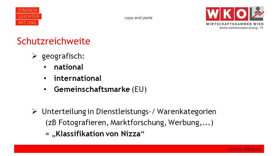 """copy and paste Schutzreichweite  geografisch: national international Gemeinschaftsmarke (EU)  Unterteilung in Dienstleistungs-/ Warenkategorien (zB Fotografieren, Marktforschung, Werbung,...) = """"Klassifikation von Nizza Ursula Illibauer"""