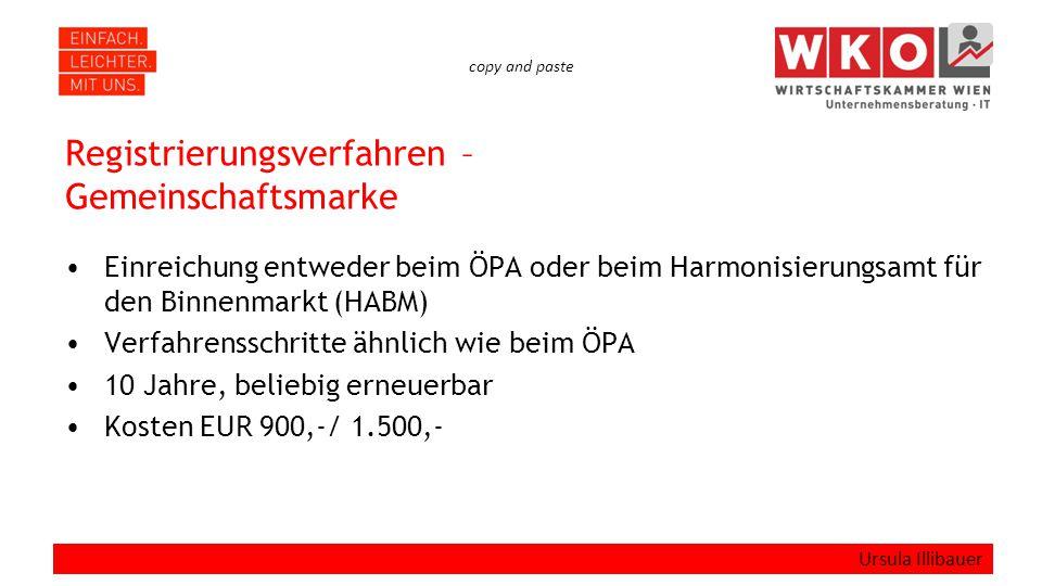 copy and paste Registrierungsverfahren – Gemeinschaftsmarke Einreichung entweder beim ÖPA oder beim Harmonisierungsamt für den Binnenmarkt (HABM) Verfahrensschritte ähnlich wie beim ÖPA 10 Jahre, beliebig erneuerbar Kosten EUR 900,-/ 1.500,- Ursula Illibauer