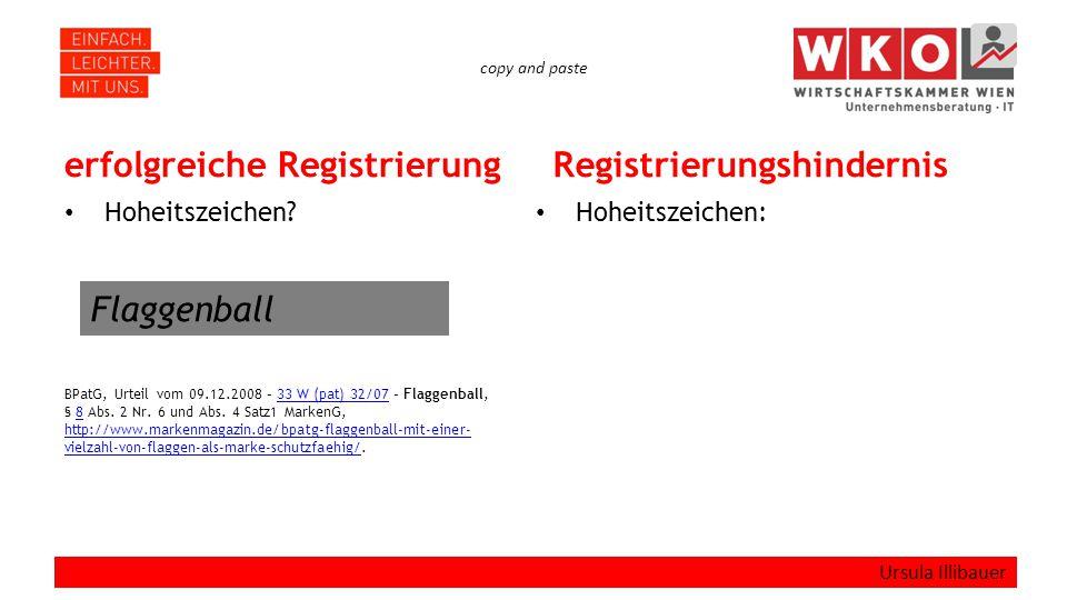 copy and paste erfolgreiche Registrierung Hoheitszeichen? BPatG, Urteil vom 09.12.2008 – 33 W (pat) 32/07 – Flaggenball, § 8 Abs. 2 Nr. 6 und Abs. 4 S