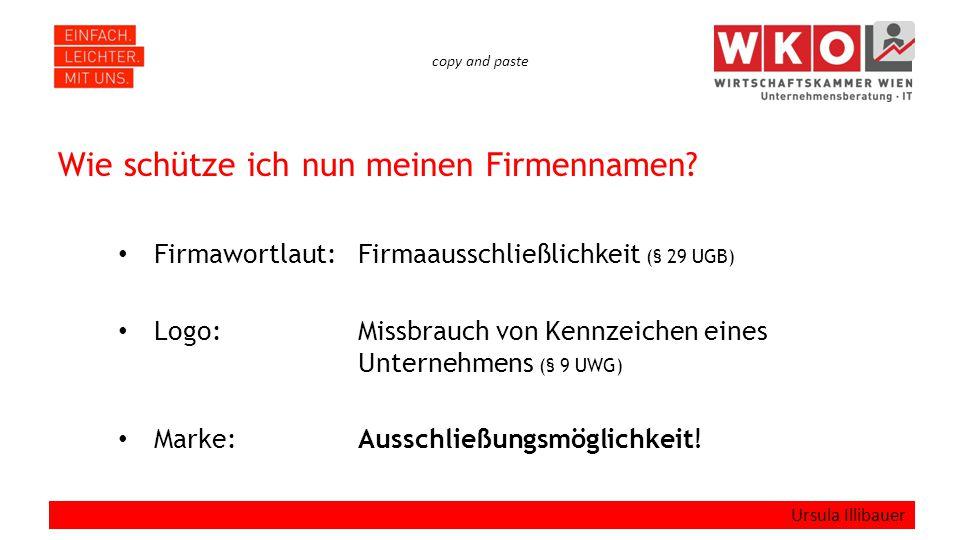 copy and paste Wie schütze ich nun meinen Firmennamen.