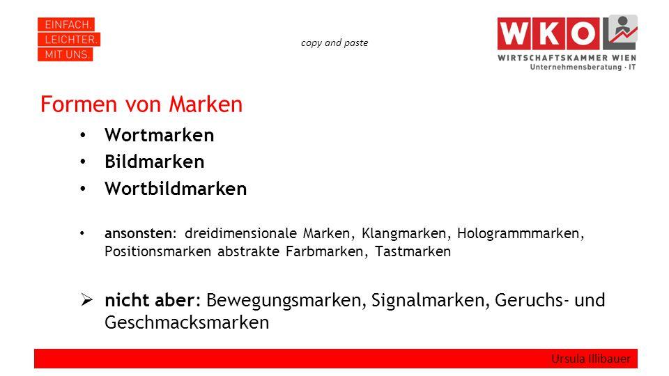 copy and paste Formen von Marken Wortmarken Bildmarken Wortbildmarken ansonsten: dreidimensionale Marken, Klangmarken, Hologrammmarken, Positionsmarke