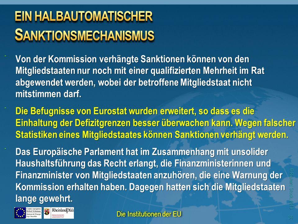 © Richard Stock, 2013 Von der Kommission verhängte Sanktionen können von den Mitgliedstaaten nur noch mit einer qualifizierten Mehrheit im Rat abgewen