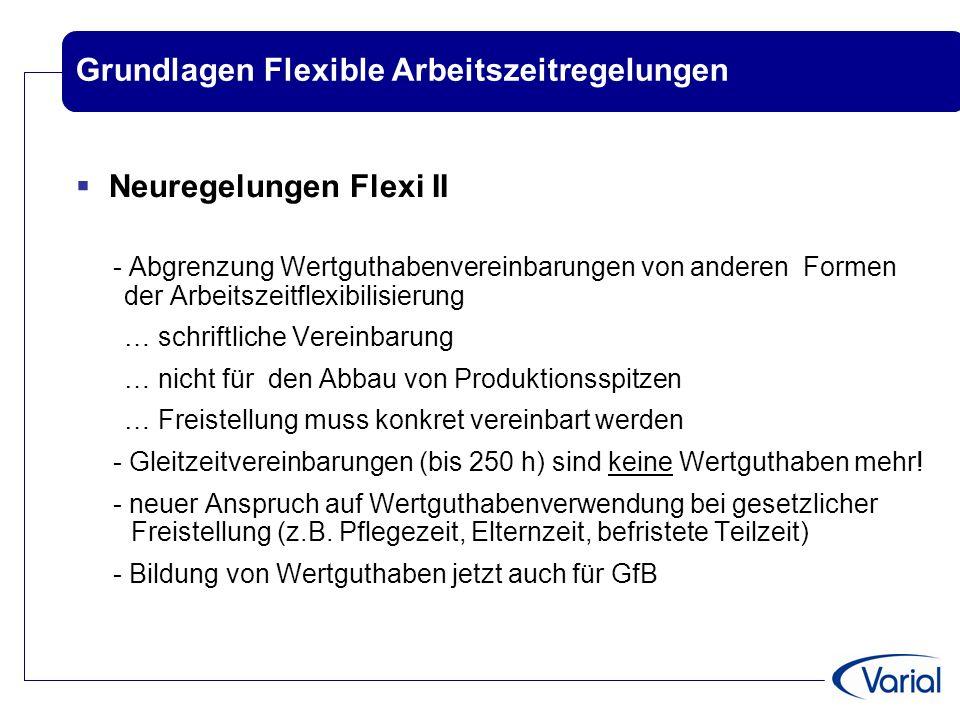 Grundlagen Flexible Arbeitszeitregelungen  Neuregelungen Flexi II - Abgrenzung Wertguthabenvereinbarungen von anderen Formen der Arbeitszeitflexibili