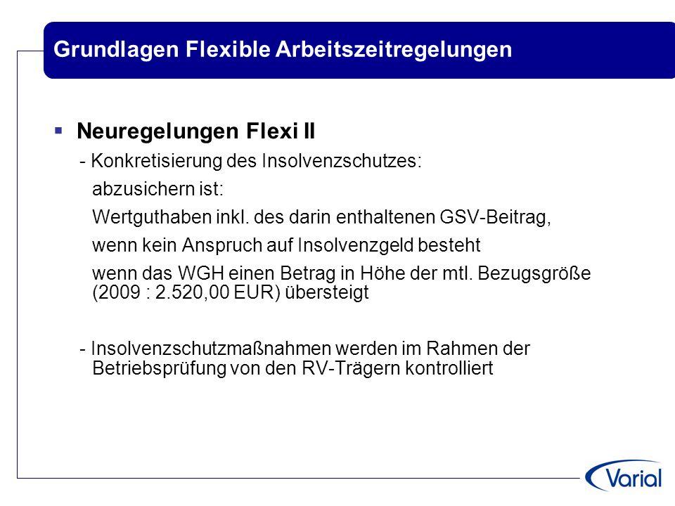 Grundlagen Flexible Arbeitszeitregelungen  Neuregelungen Flexi II - Konkretisierung des Insolvenzschutzes: abzusichern ist: Wertguthaben inkl. des da
