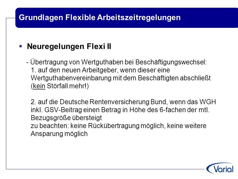 Grundlagen Flexible Arbeitszeitregelungen  Neuregelungen Flexi II - Übertragung von Wertguthaben bei Beschäftigungswechsel: 1. auf den neuen Arbeitge
