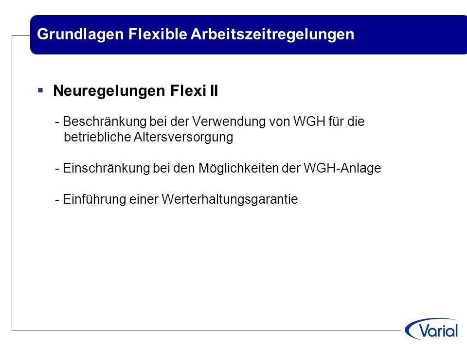 Grundlagen Flexible Arbeitszeitregelungen  Neuregelungen Flexi II - Beschränkung bei der Verwendung von WGH für die betriebliche Altersversorgung - E