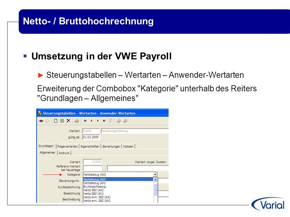 Netto- / Bruttohochrechnung  Umsetzung in der VWE Payroll ► Steuerungstabellen – Wertarten – Anwender-Wertarten Erweiterung der Combobox