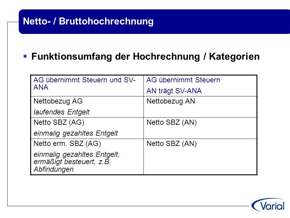 Netto- / Bruttohochrechnung  Funktionsumfang der Hochrechnung / Kategorien AG übernimmt Steuern und SV- ANA AG übernimmt Steuern AN trägt SV-ANA Nett