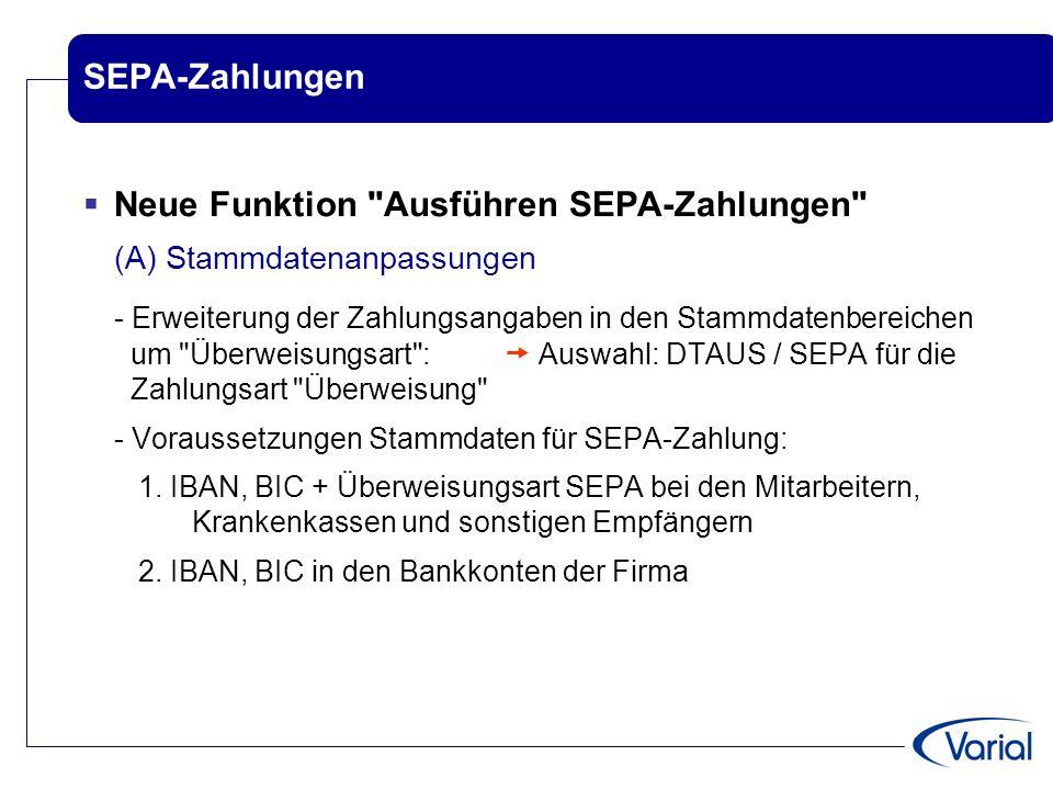 SEPA-Zahlungen  Neue Funktion