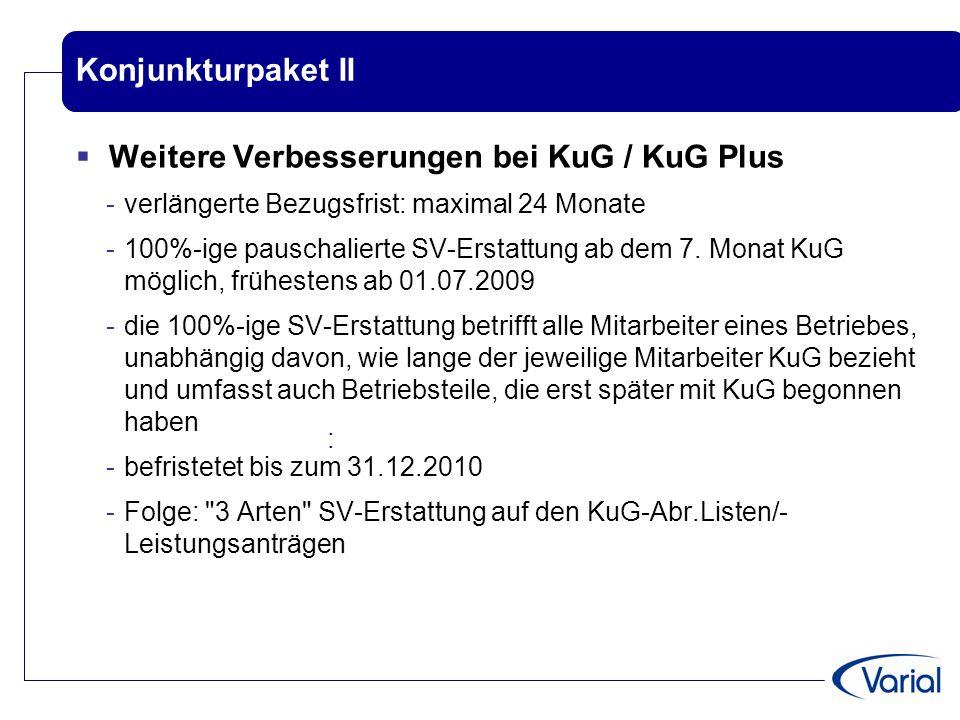 Konjunkturpaket II  Weitere Verbesserungen bei KuG / KuG Plus -verlängerte Bezugsfrist: maximal 24 Monate -100%-ige pauschalierte SV-Erstattung ab de