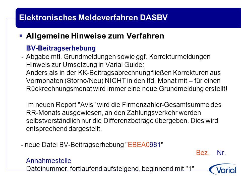 Elektronisches Meldeverfahren DASBV  Allgemeine Hinweise zum Verfahren BV-Beitragserhebung -Abgabe mtl. Grundmeldungen sowie ggf. Korrekturmeldungen