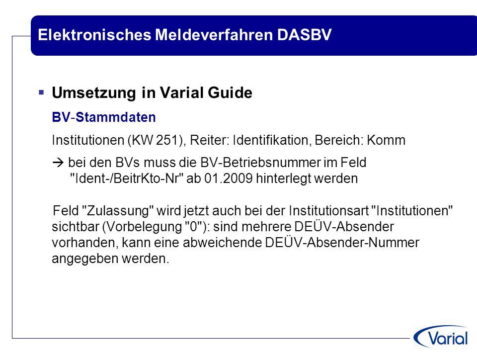 Elektronisches Meldeverfahren DASBV  Umsetzung in Varial Guide BV - Stammdaten Institutionen (KW 251), Reiter: Identifikation, Bereich: Komm  bei de