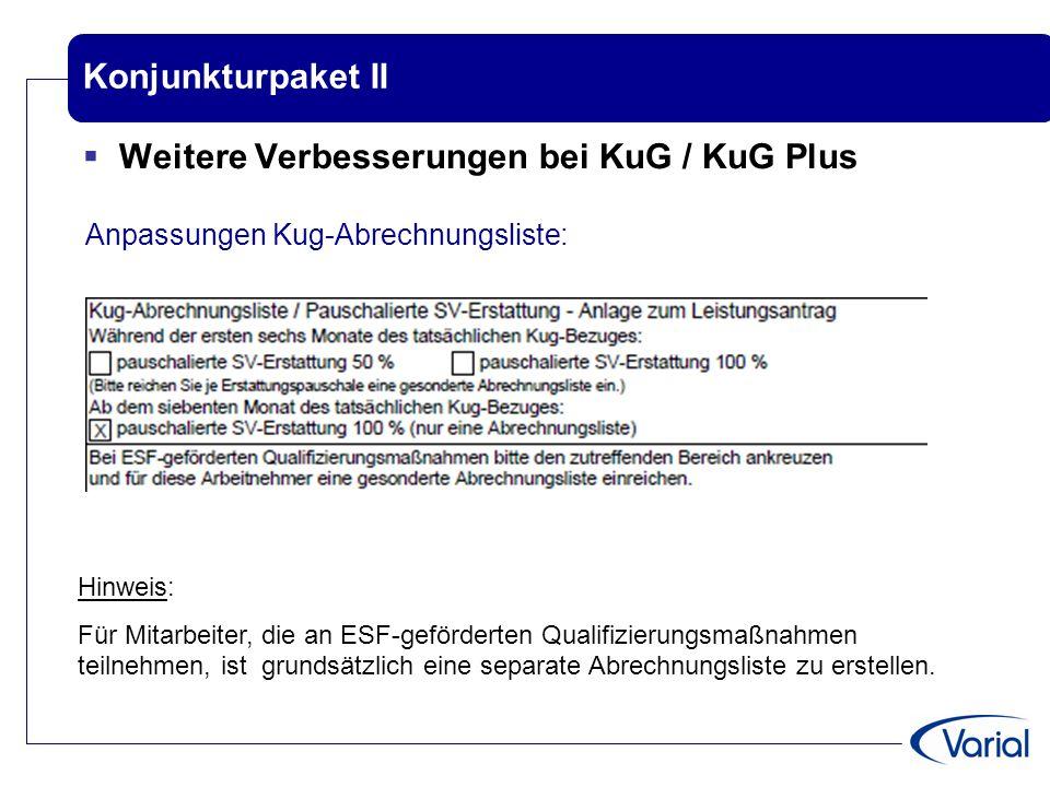 Konjunkturpaket II  Weitere Verbesserungen bei KuG / KuG Plus Anpassungen Kug-Abrechnungsliste: Hinweis: Für Mitarbeiter, die an ESF-geförderten Qual