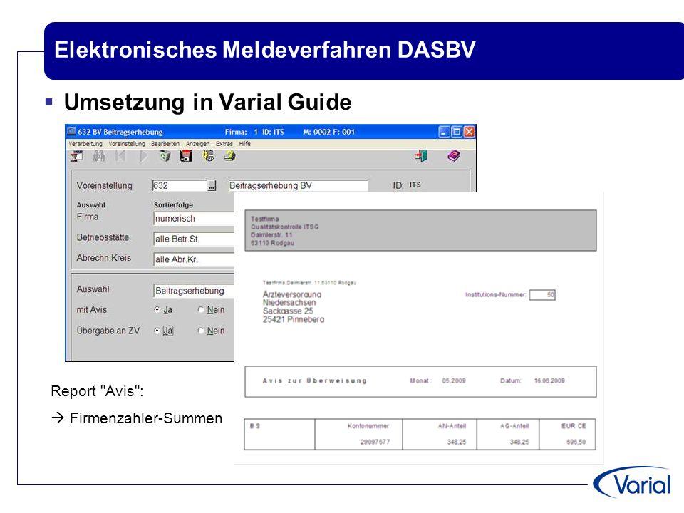 Elektronisches Meldeverfahren DASBV  Umsetzung in Varial Guide Report