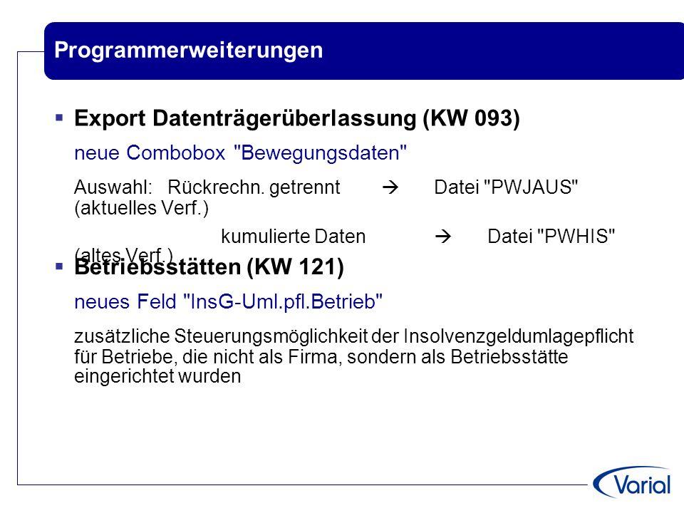 Programmerweiterungen  Export Datenträgerüberlassung (KW 093) neue Combobox