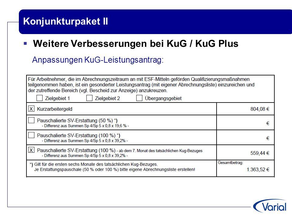 Konjunkturpaket II  Weitere Verbesserungen bei KuG / KuG Plus Anpassungen KuG-Leistungsantrag: