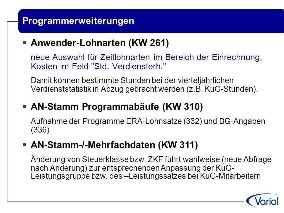 Programmerweiterungen  Anwender-Lohnarten (KW 261) neue Auswahl für Zeitlohnarten im Bereich der Einrechnung, Kosten im Feld