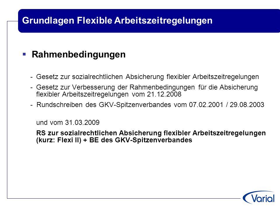 Grundlagen Flexible Arbeitszeitregelungen  Rahmenbedingungen - Gesetz zur sozialrechtlichen Absicherung flexibler Arbeitszeitregelungen -Gesetz zur V