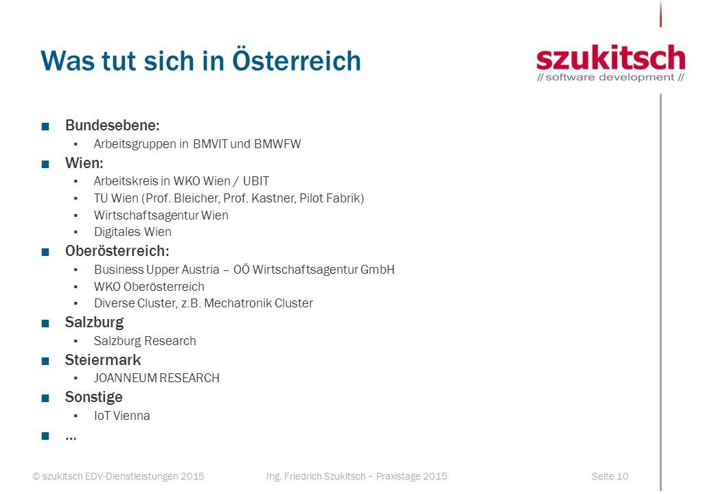 © szukitsch EDV-Dienstleistungen 2015Seite 10Ing. Friedrich Szukitsch – Praxistage 2015 Was tut sich in Österreich ■Bundesebene: ▪Arbeitsgruppen in BM
