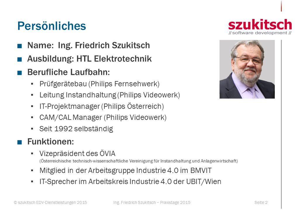 © szukitsch EDV-Dienstleistungen 2015Seite 2Ing. Friedrich Szukitsch – Praxistage 2015 Persönliches ■Name:Ing. Friedrich Szukitsch ■Ausbildung: HTL El