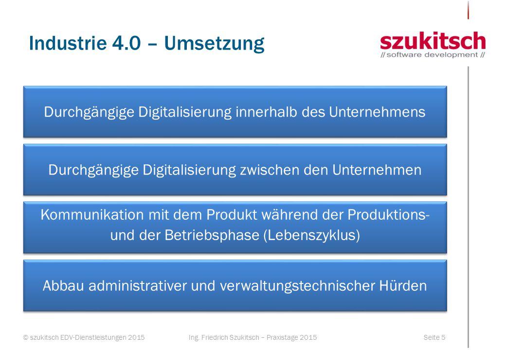 © szukitsch EDV-Dienstleistungen 2015Seite 5Ing. Friedrich Szukitsch – Praxistage 2015 Industrie 4.0 – Umsetzung Durchgängige Digitalisierung innerhal