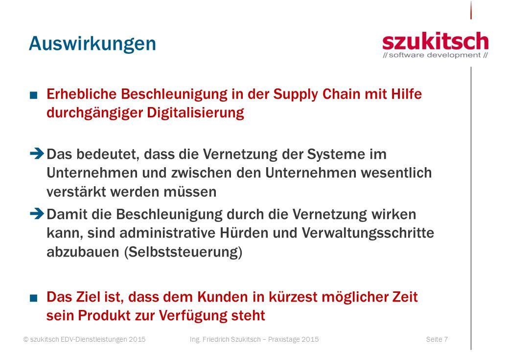 © szukitsch EDV-Dienstleistungen 2015Seite 7Ing. Friedrich Szukitsch – Praxistage 2015 Auswirkungen ■Erhebliche Beschleunigung in der Supply Chain mit