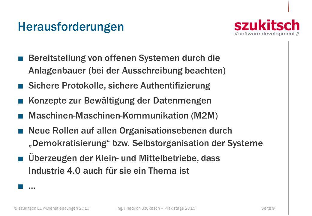 © szukitsch EDV-Dienstleistungen 2015Seite 9Ing. Friedrich Szukitsch – Praxistage 2015 Herausforderungen ■Bereitstellung von offenen Systemen durch di