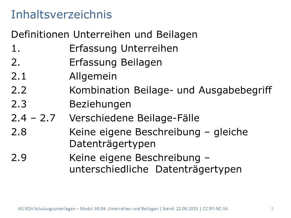Inhaltsverzeichnis Definitionen Unterreihen und Beilagen 1.