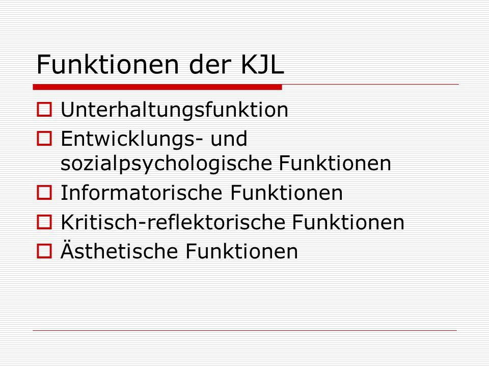 Funktionen der KJL  Unterhaltungsfunktion  Entwicklungs- und sozialpsychologische Funktionen  Informatorische Funktionen  Kritisch-reflektorische