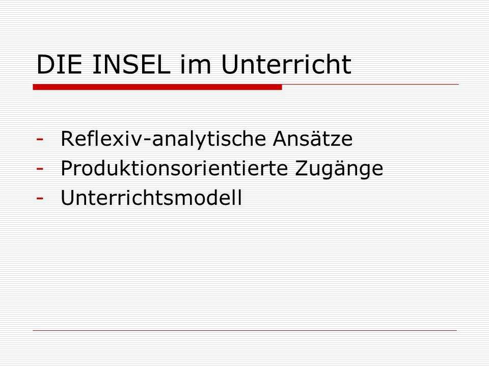 DIE INSEL im Unterricht -Reflexiv-analytische Ansätze -Produktionsorientierte Zugänge -Unterrichtsmodell