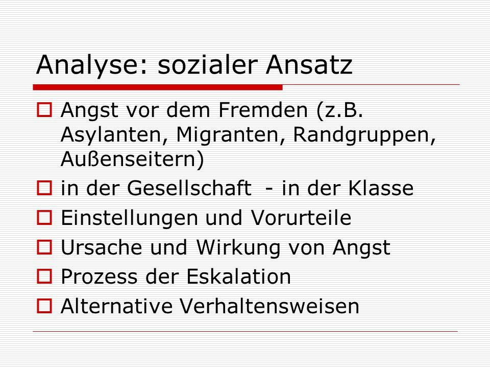 Analyse: sozialer Ansatz  Angst vor dem Fremden (z.B. Asylanten, Migranten, Randgruppen, Außenseitern)  in der Gesellschaft - in der Klasse  Einste