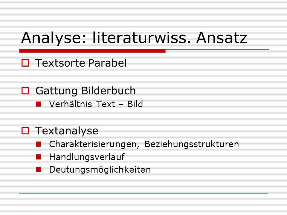 Analyse: literaturwiss. Ansatz  Textsorte Parabel  Gattung Bilderbuch Verhältnis Text – Bild  Textanalyse Charakterisierungen, Beziehungsstrukturen