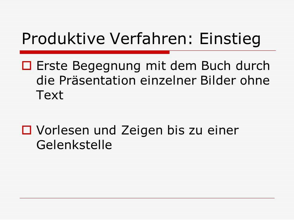 Produktive Verfahren: Einstieg  Erste Begegnung mit dem Buch durch die Präsentation einzelner Bilder ohne Text  Vorlesen und Zeigen bis zu einer Gel